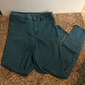 American Eagle Green High Rise Jeggings